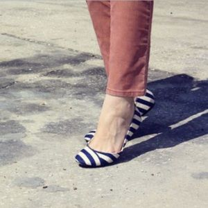 Wanted Australia 'AHOY' flats in navy and white